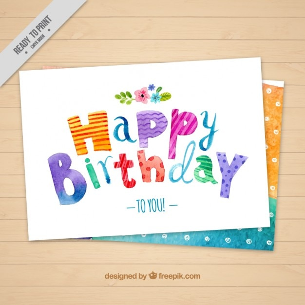 Watercolor Birthday Card With Dots Vector