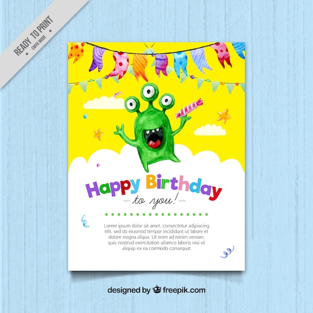 Watercolor birthday card with green\ monster