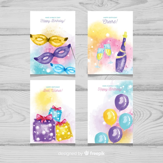 Watercolor birthday card with party elements collection Free Vector
