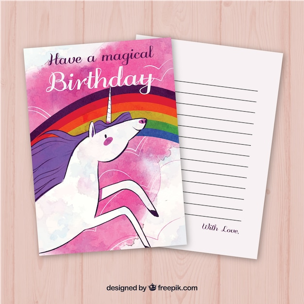 Watercolor birthday card with unicorn