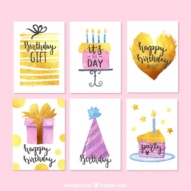 watercolor birthday cards pack free vector - Birthday Card Packs