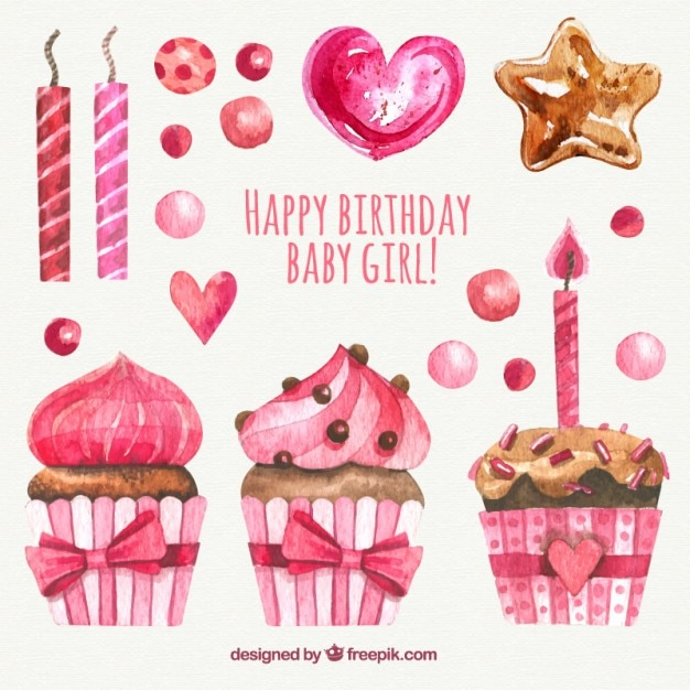 Watercolor Birthday Elements In Pink Color Free Vector