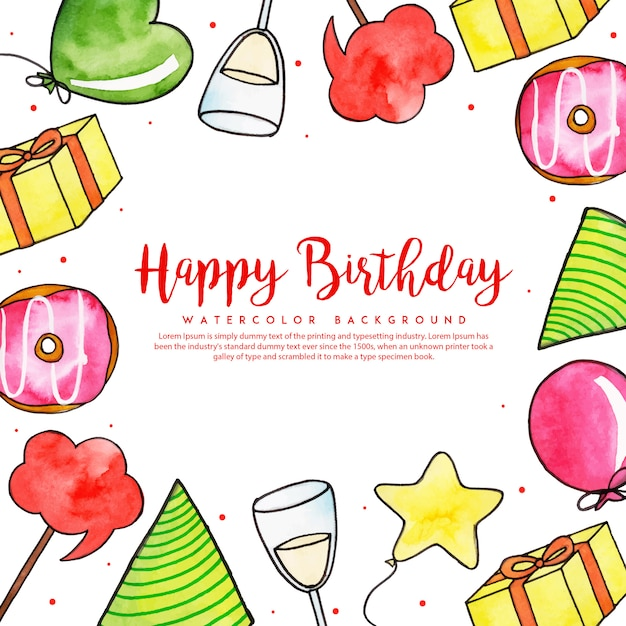 Watercolor birthday frame background Premium Vector