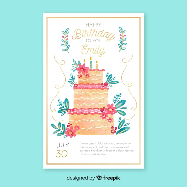 Watercolor Birthday Invitation Card Template Vector Free