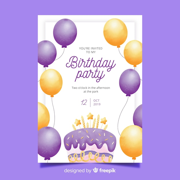 Watercolor birthday invitation with balloons template Free Vector