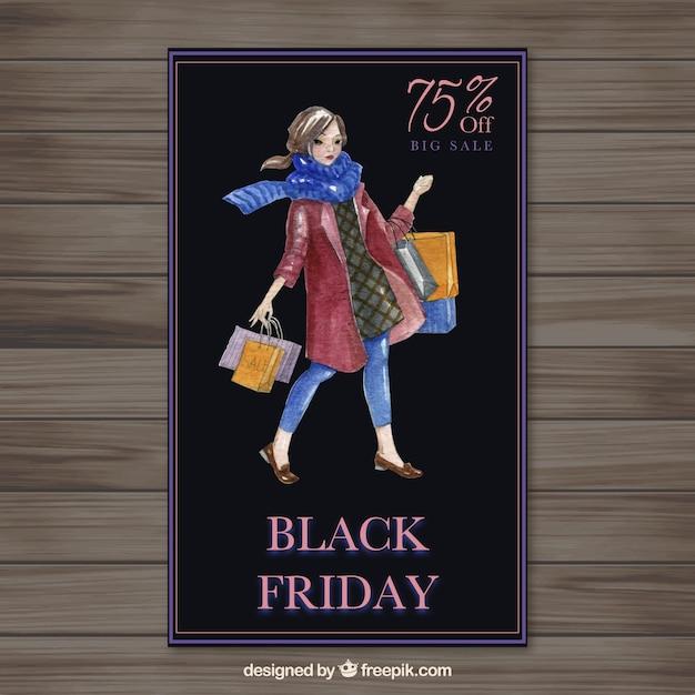 Watercolor black friday banner Free Vector