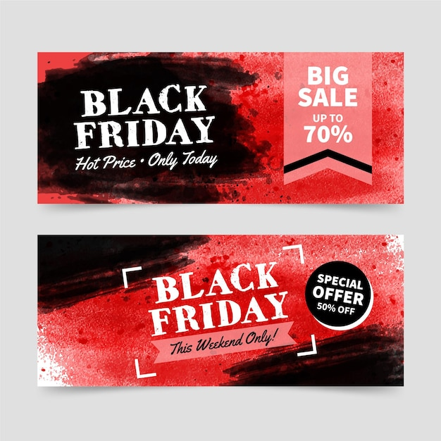 Watercolor black friday banners template Free Vector