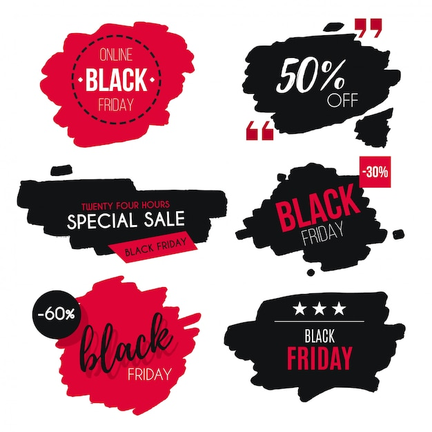 Watercolor black friday sale badge collection Free Vector