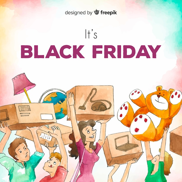 Free Vector Watercolor Black Friday Sales Background With Happy People Shopping