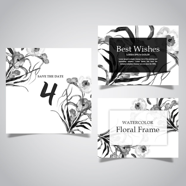 Watercolor Black And White Floral Frame And Card Collection Vector