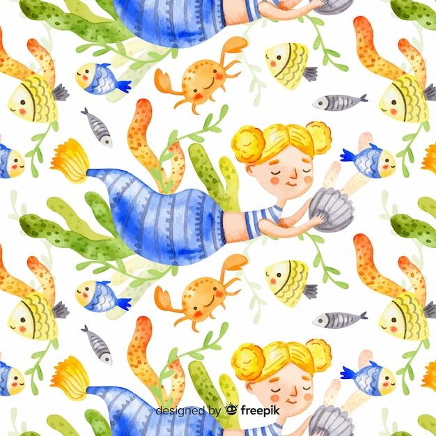Watercolor blonde smiling mermaid pattern Free Vector