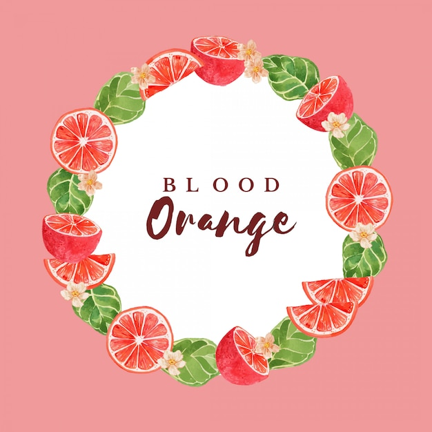 Watercolor blood orange citrus fruit frame border illustration template Premium Vector