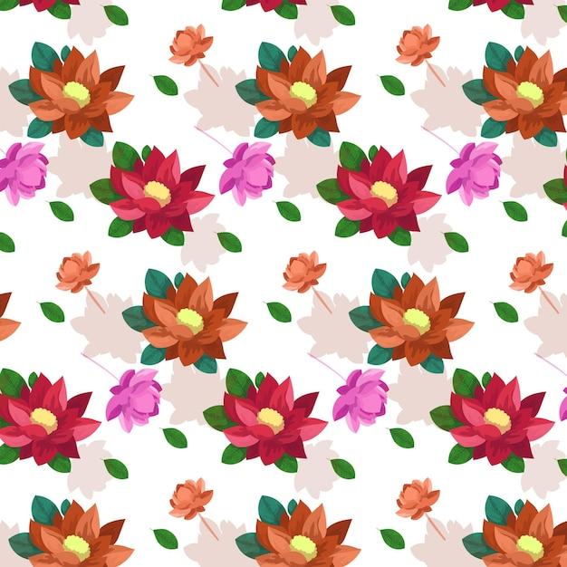 Акварель цветущие цветы с листьями Premium векторы