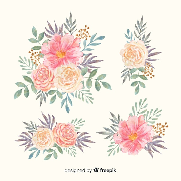 Watercolor blossom floral bouquet collection Free Vector