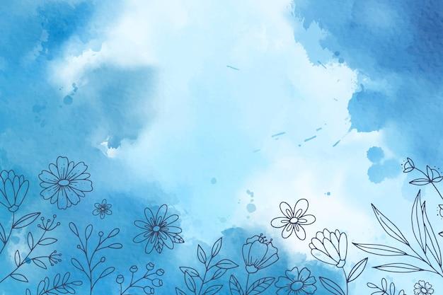 手描きの要素と水彩の青い背景 無料ベクター