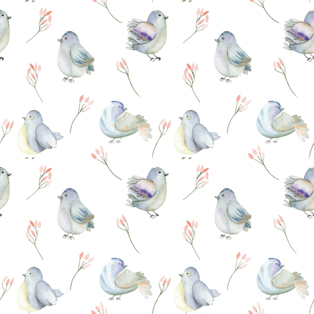Watercolor blue birds and pink flowers seamless pattern Premium Vector