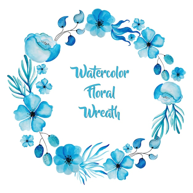 Watercolor Blue Floral Wreath Free Vector