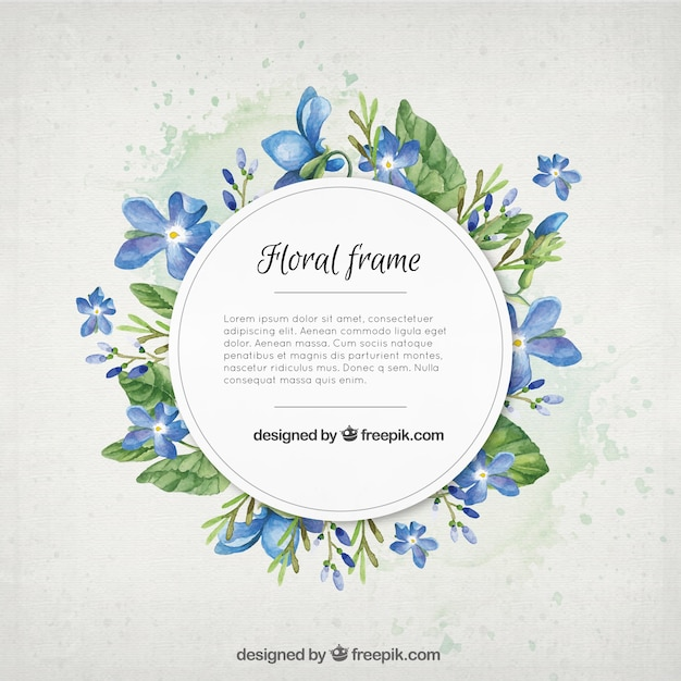 Watercolor blue flowers with leaves frame Premium Vector