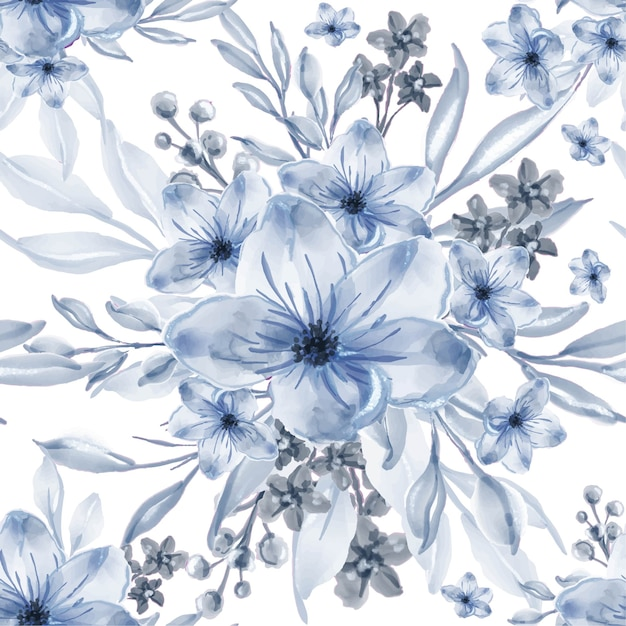 수채화 블루 꽃 무료 벡터