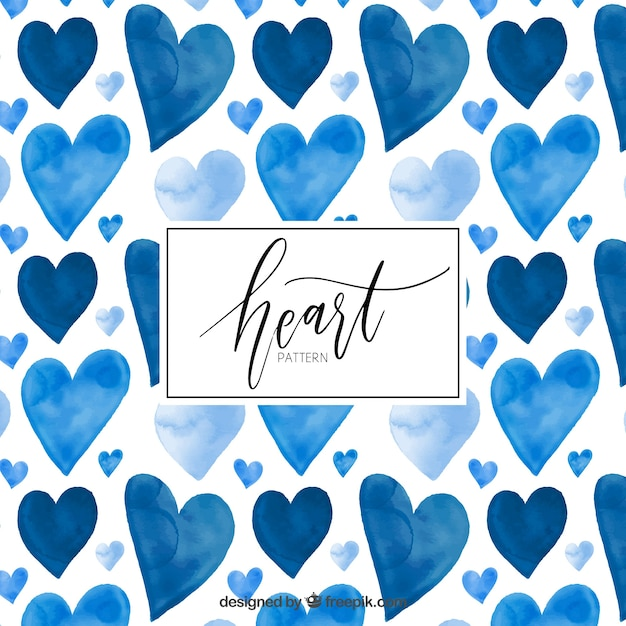 Watercolor blue hearts pattern Free Vector
