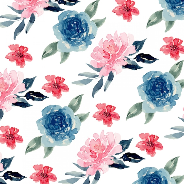 Watercolor blue navy and pink blush loose floral seamless pattern Premium Vector