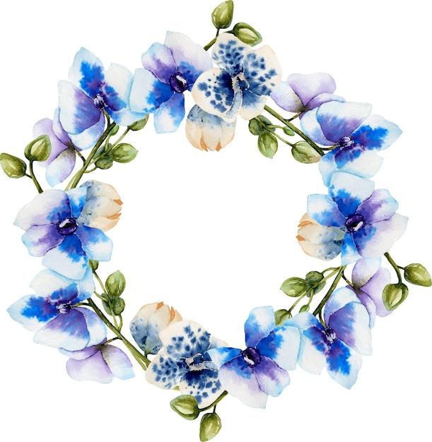 Watercolor blue orchids wreath Premium Vector