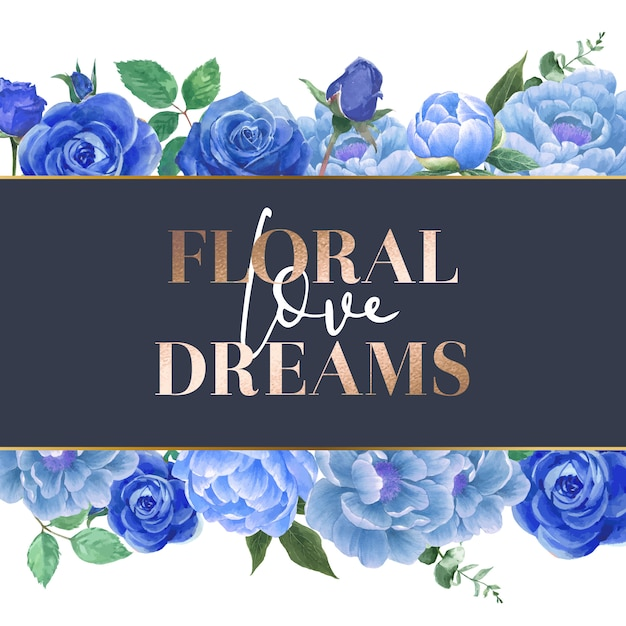 Watercolor blue rose flowers card Free Vector