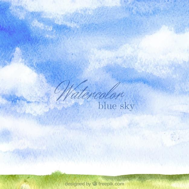 Watercolor blue sky backrgound Premium Vector