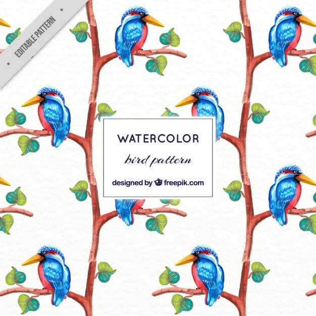 Watercolor blue tropical bird pattern