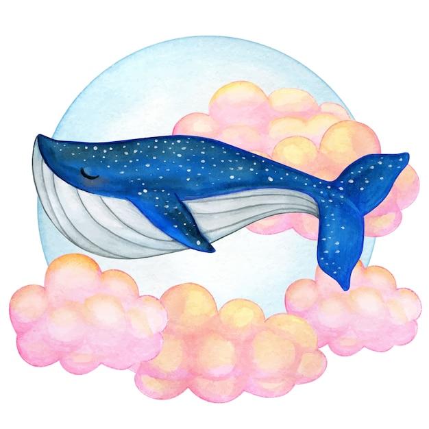 ピンクの雲で泳ぐ水彩シロナガスクジラ Premiumベクター
