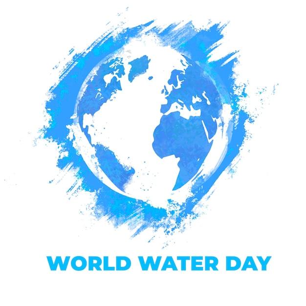 Акварель голубой всемирный день воды Бесплатные векторы