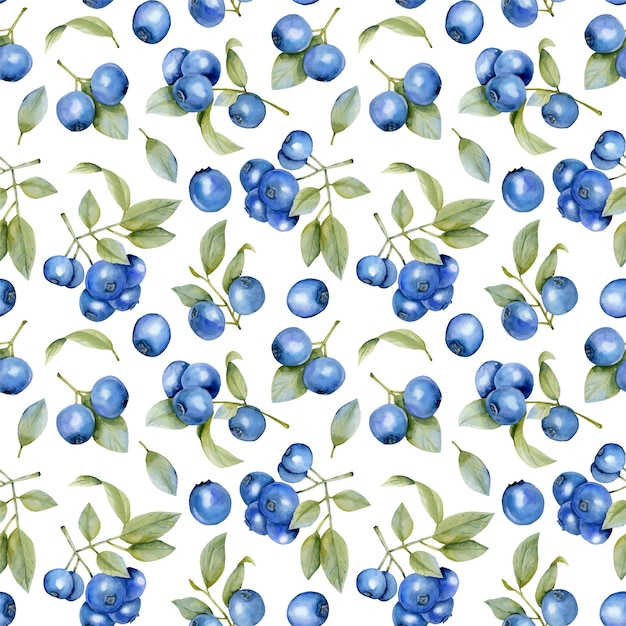 Watercolor blueberries branches seamless pattern Premium Vector