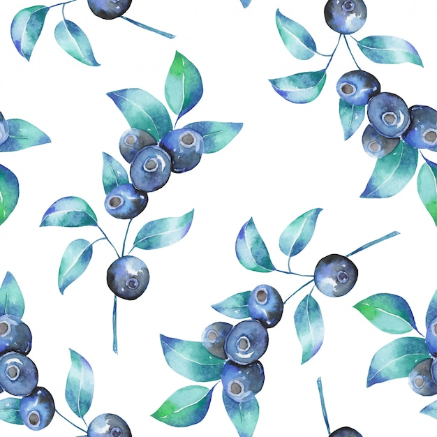 Premium Vector Watercolor Blueberry Branches Seamless Pattern