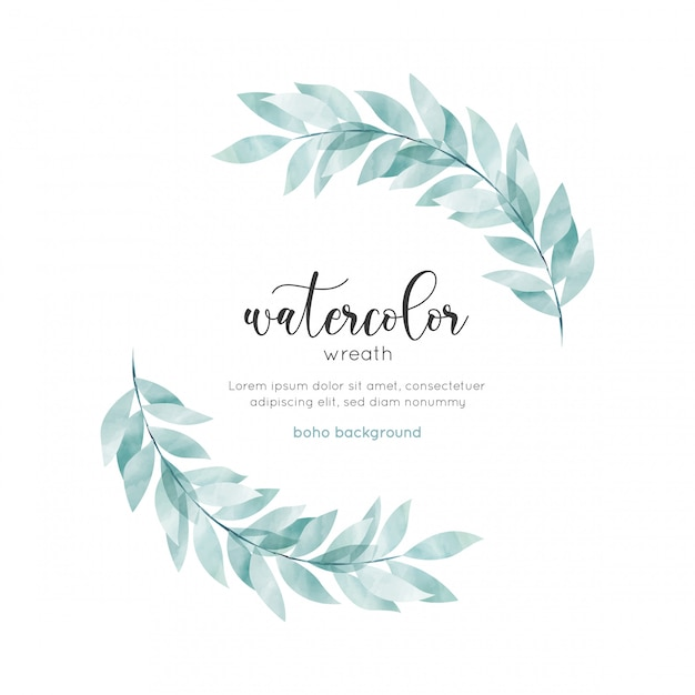Watercolor bohemian style floral card Premium Vector