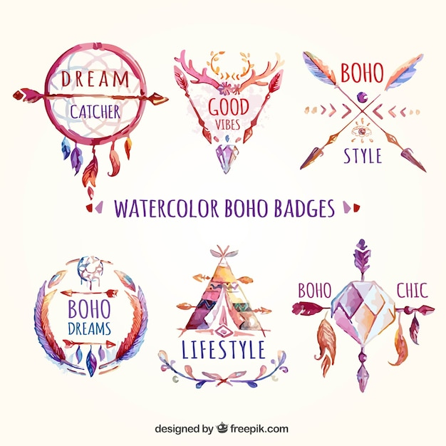 Watercolor boho badges Vector | Free Download