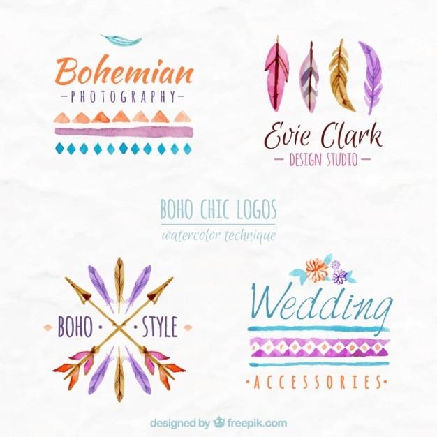 Watercolor boho chic logos Premium Vector