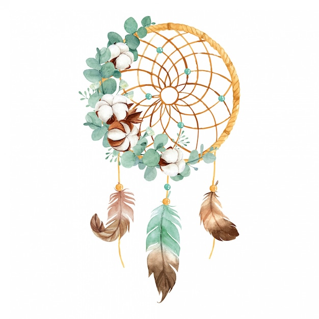 야생 면화 꽃과 유칼립투스 잎 수채화 Boho 꿈 포수 프리미엄 벡터