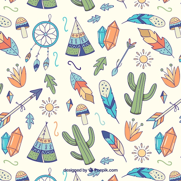 Watercolor boho pattern design Free Vector