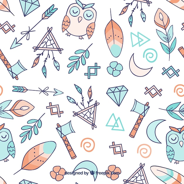 Watercolor boho pattern Free Vector