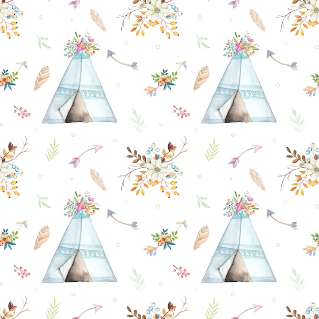 Watercolor boho teepee pattern Premium Vector
