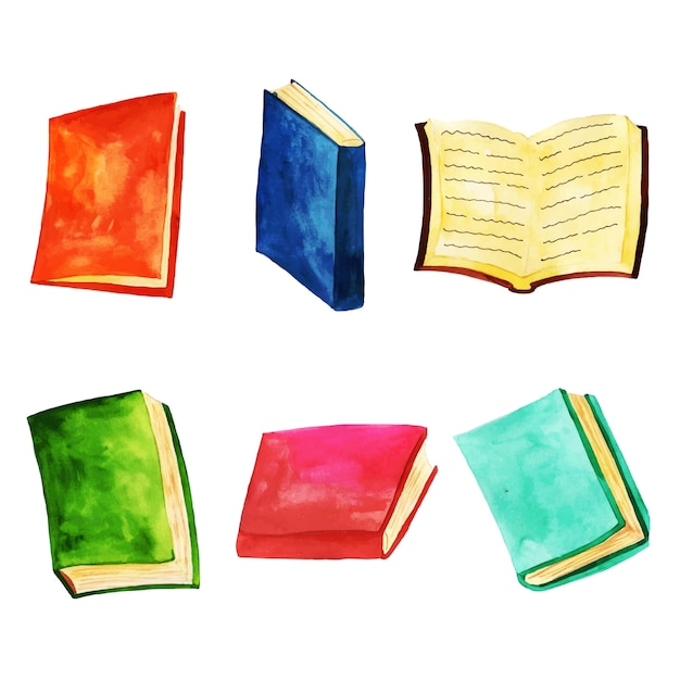 Watercolor Books Collection Vector | Free Download