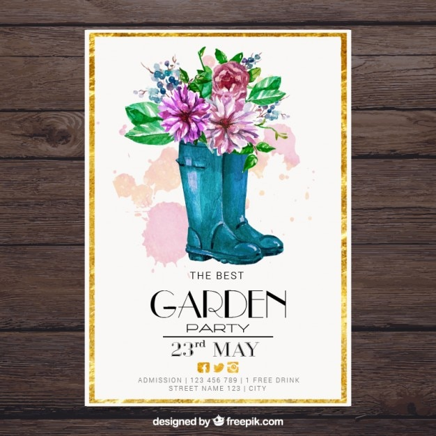 Watercolor boots with flowers garden party card Free Vector