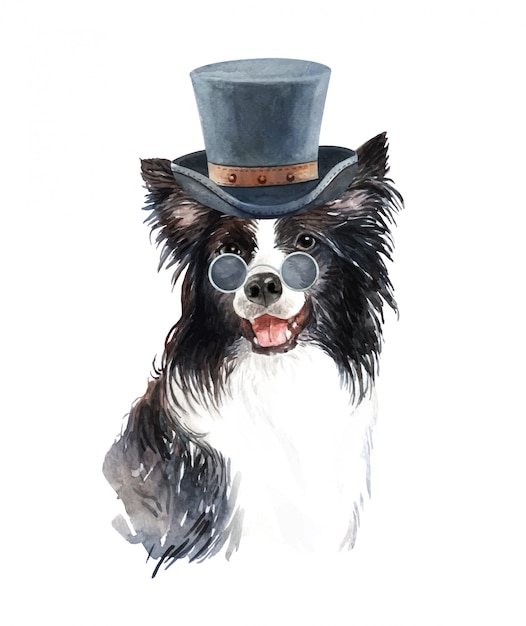 Watercolor border collie with sunglasses and top hat. Premium Vector