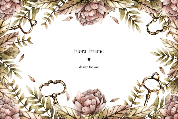 Watercolor border frame in vintage style with peonies, plants and keys. Premium Vector