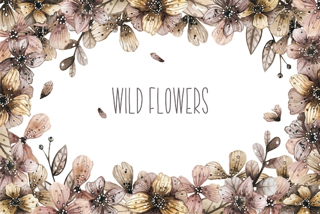Watercolor border frame with magic wild flowers. vector illustration. Premium Vector