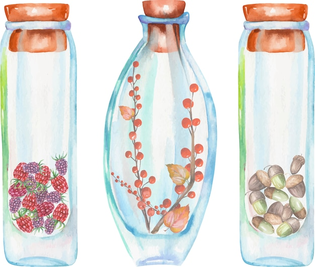 Watercolor bottles with strawberry and raspberries Premium Vector