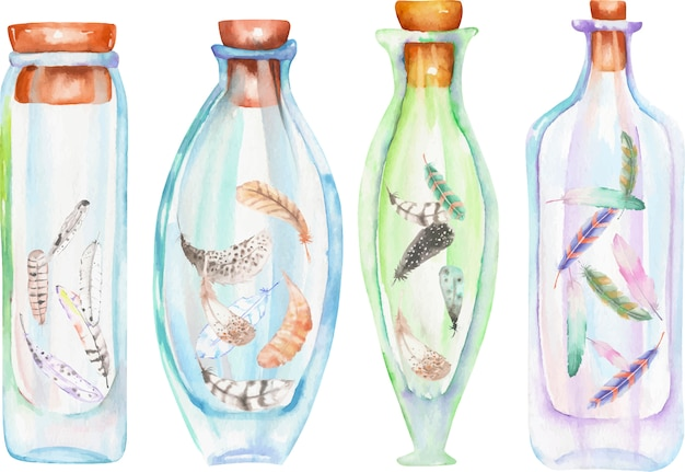 Watercolor bottles with succulents and cuctuses inside Premium Vector