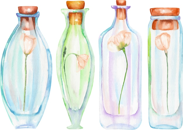 Watercolor bottles with tender flowers inside Premium Vector