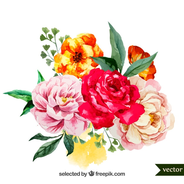 Watercolor bouquet of flowers Free Vector