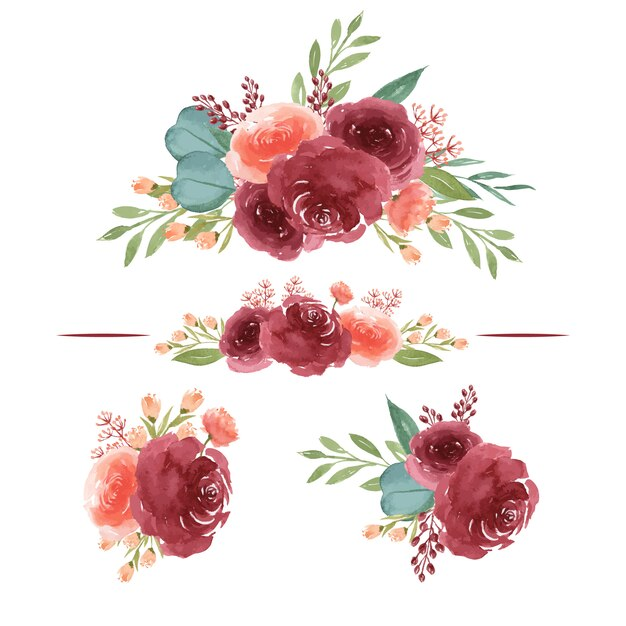 Watercolor bouquets Premium Vector